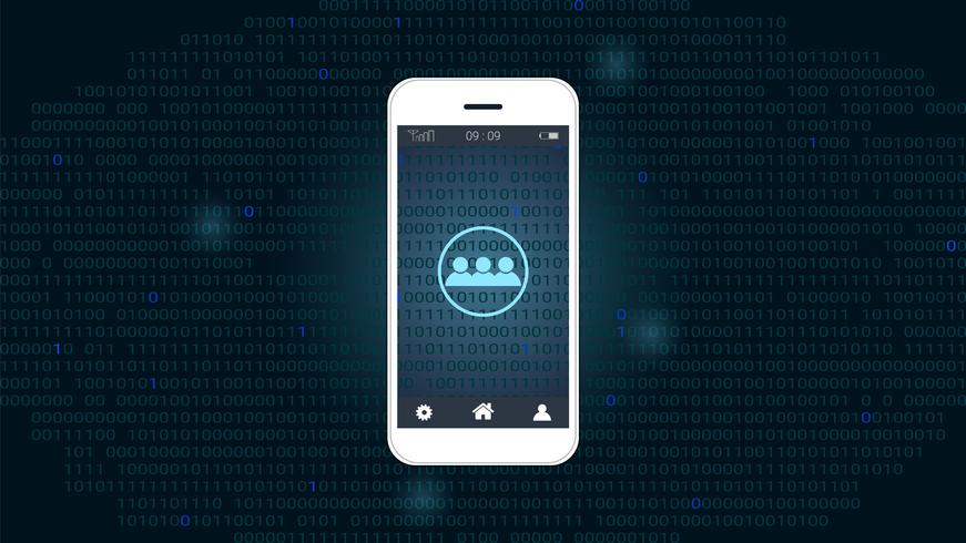 Smart telefon skärm med Global nätverk och binär kod bakgrund vektor