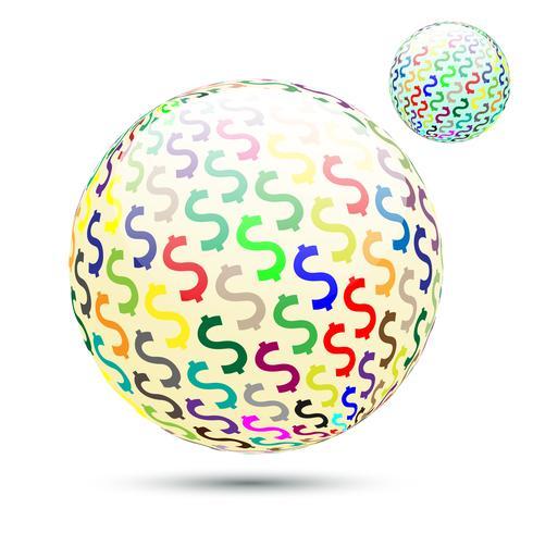Abstrakta dollarpengar symboliserar boll. vektor