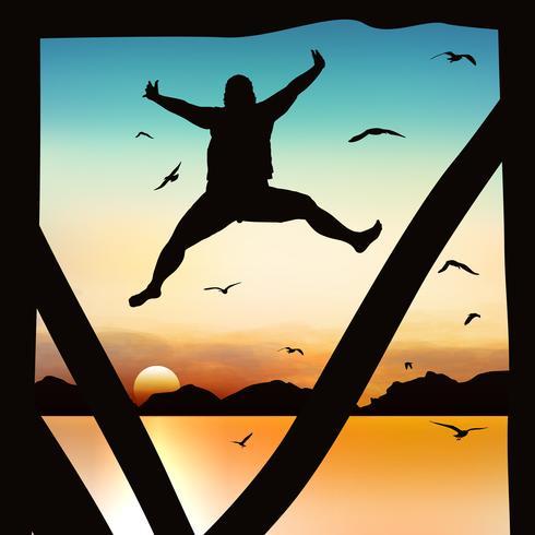 Silhuett och hoppande tjej i skymningen med blå himmel. vektor