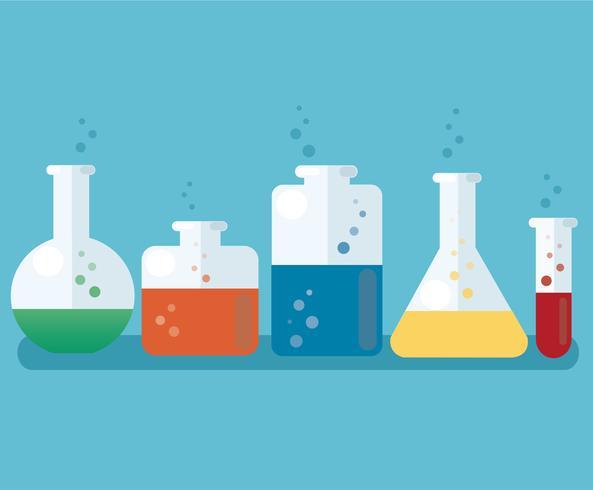 buntes Labor gefüllt mit einer klaren Flüssigkeit und einem blauen Hintergrund vektor