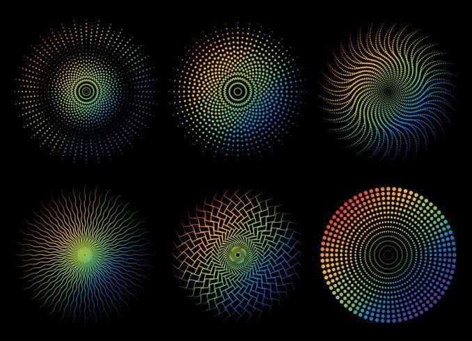 Samling av abstrakt färgstark regnbåge prickmönster element - Vektor illustration