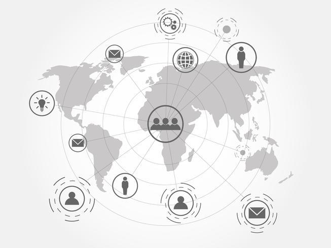 Global nätverksanslutning med världskarta bakgrund. vektor