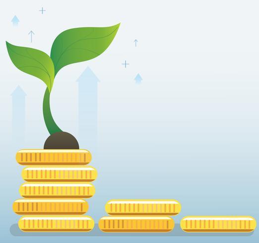 Pflanzenwachstum auf Münzen Diagramm, Start-Business-Konzept Vektor-Illustration vektor