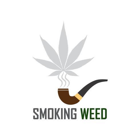Marihuana Ganja Weed Rauch Symbol auf weißem Hintergrund vektor