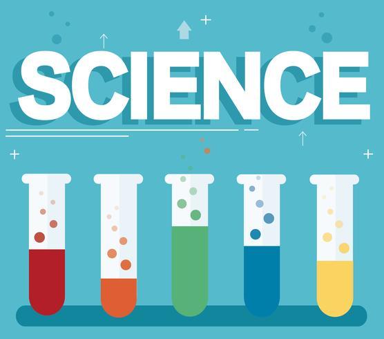 vetenskaplig text och färgstarkt laboratorium fyllt med en klar flytande och blå bakgrund vektor