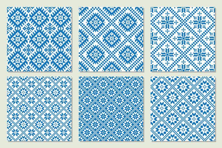 Ethnische nordische Muster stellten Sammlung Vektorillustration ein. vektor