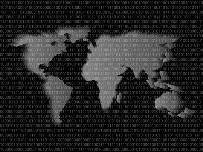 Digital världskarta tecken binär kod med siffrorna 1 och 0. vektor