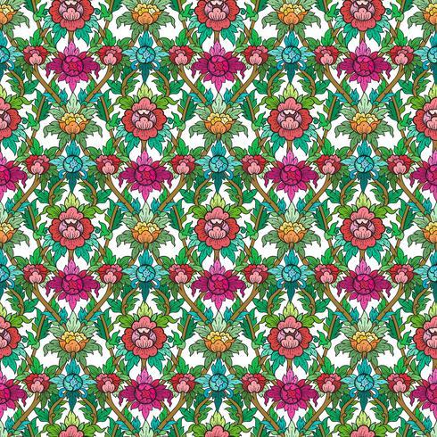 Thailändsk blommig motiv sömlös bakgrund. vektor