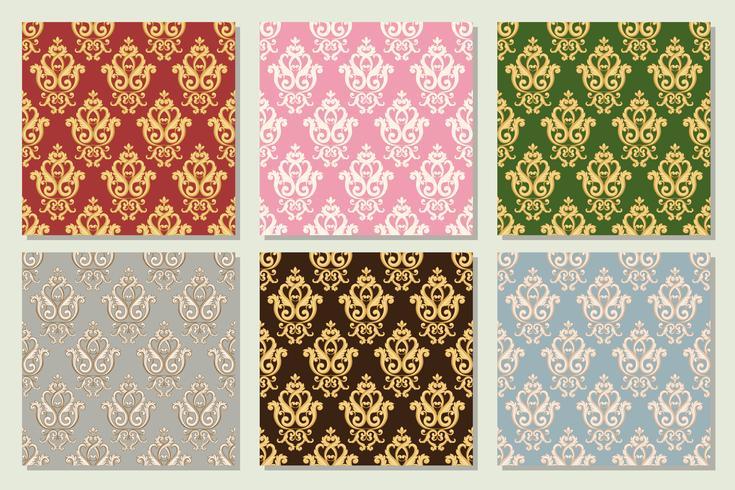 Stellen Sie Sammlung des nahtlosen Damastmusters in den verschiedenen Farben ein. vektor