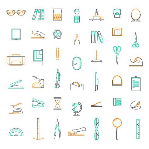 Vektorlinje ikoner Ange i plattdesign kontor och företag med element för mobila koncept och webbapps. vektor
