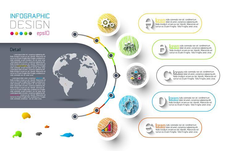 Abstrakte Geschäft Infografiken Schritt Optionen Vorlage. vektor
