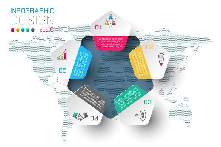 Affärssteg alternativ och abstrakt infographics nummer alternativ mall. vektor