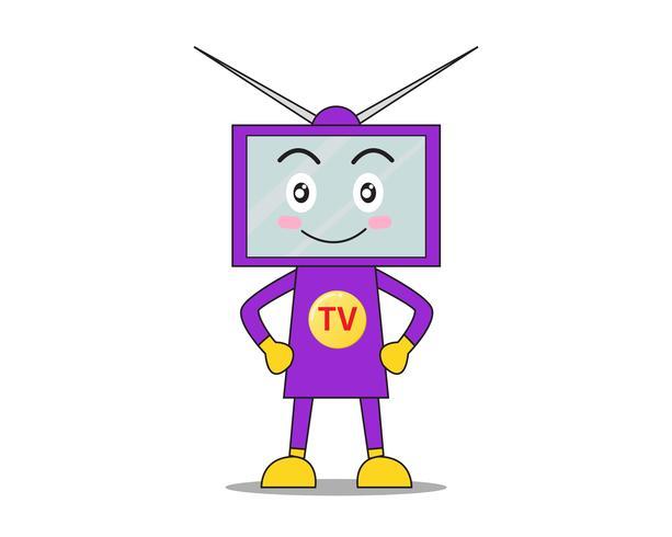 Tecknad karaktär TV-skärm maskot glad på vit bakgrund - Vektor illustration