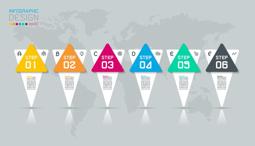 Business infographic med 6 steg. vektor