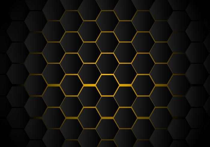 Abstraktes schwarzes Hexagonmuster auf gelber Neonhintergrundtechnologieart. Bienenwabe. vektor
