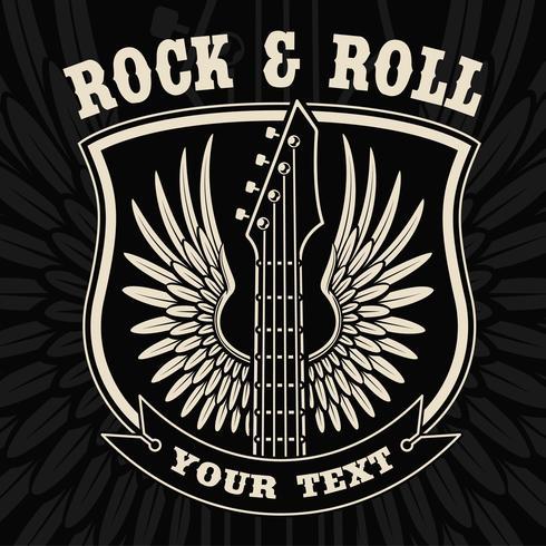 Vintage emblem av gitarr med vingar på den mörka bakgrunden. vektor