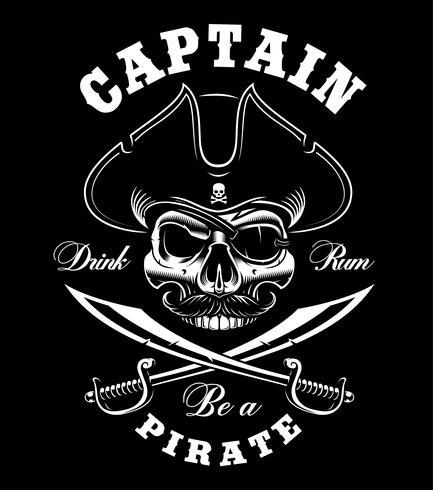 Vintage Pirate Skull. vektor