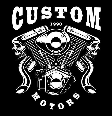 Monster Engine T-Shirt Design (auf dunklem Hintergrund) vektor