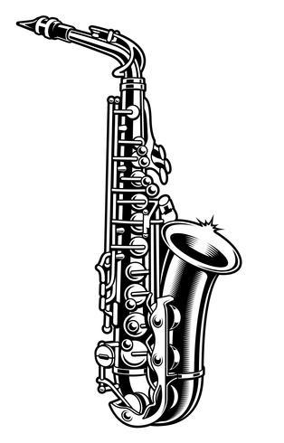 Saxofon svart och vit illustration vektor