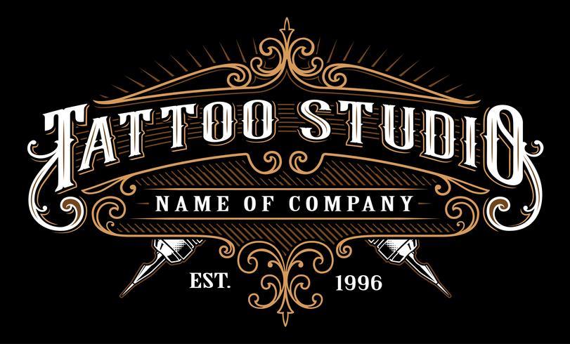 Vintage Tattoo Studio Emblem_2 (für dunklen Hintergrund) vektor