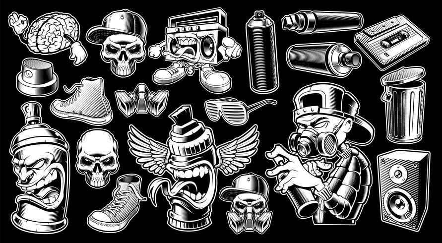 Sats av svartvita graffiti klistermärken. vektor