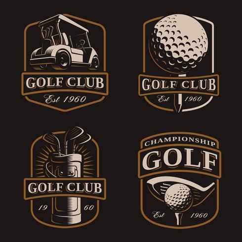 Golf vektor uppsättning på mörk bakgrund