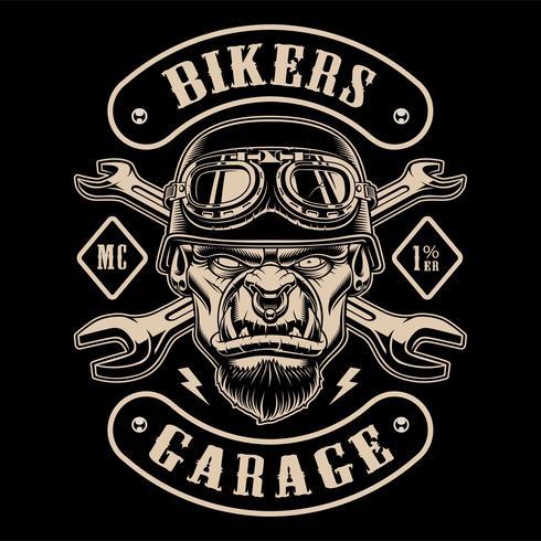 Svart och vit design av biker patch med karaktären. vektor