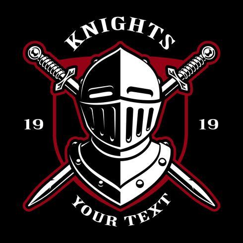 Emblem des Ritterhelms mit Schwertern. vektor