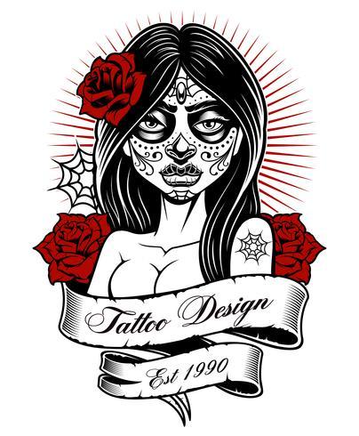 Tattoo Mädchen (einfarbige Version) vektor