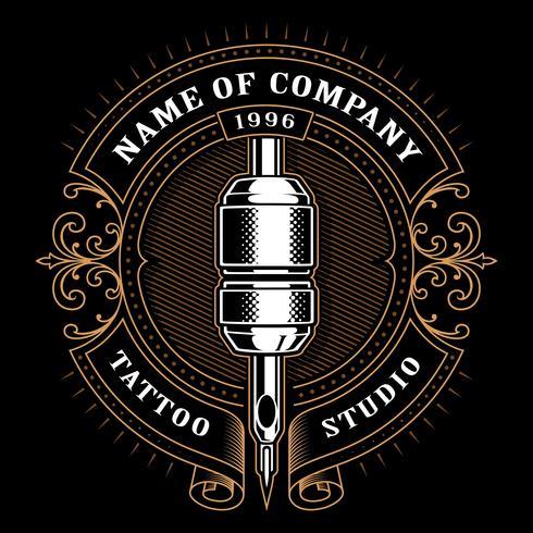 Vintage Tattoo Studio Emblem_1 (für dunklen Hintergrund) vektor
