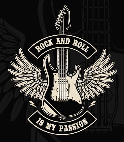 Rock and roll gitarr med vingar illustration vektor