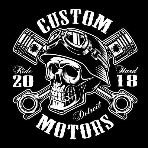 Biker skalle med korsade kolvar t-shirt design (monokrom version) vektor