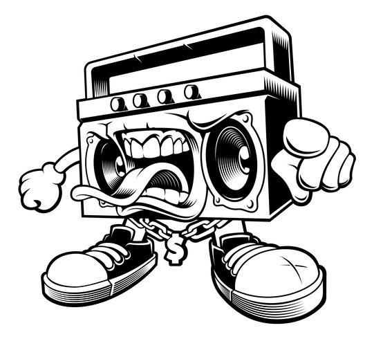 Graffiti-Boombox-Charakter. vektor