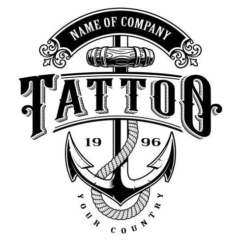 Tattoo Schriftzug Illustration mit Anker (für weißen Hintergrund) vektor