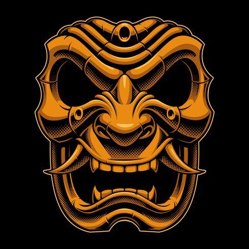 Samurai krigare mask (färgversion) vektor