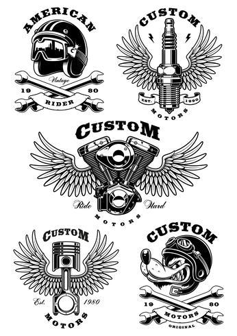 Set med 5 vintage biker illustrationer på vit background_1 vektor