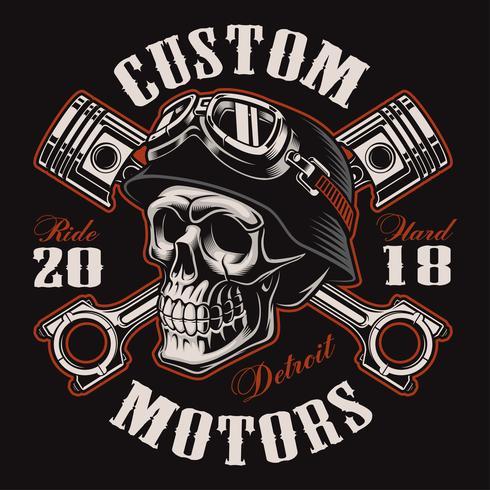 Biker skalle med korsade kolvar t-shirt design (färgversion) vektor