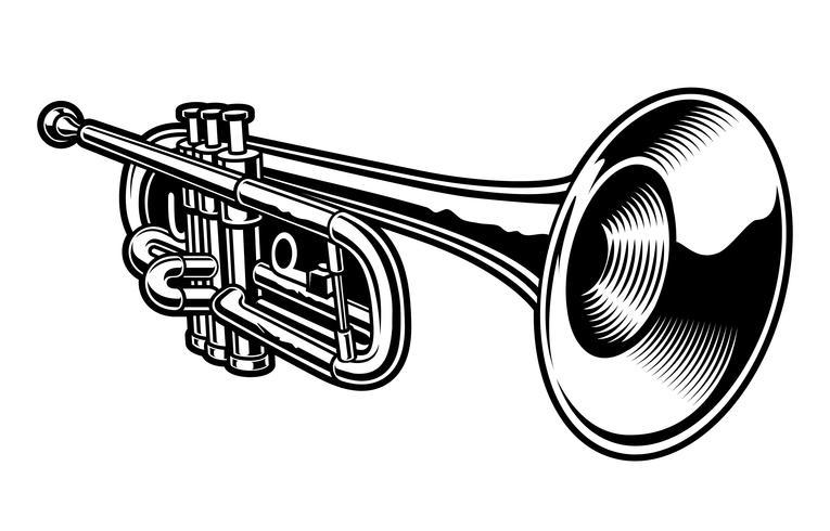 Vektor illustration av svart och vit trumpet.