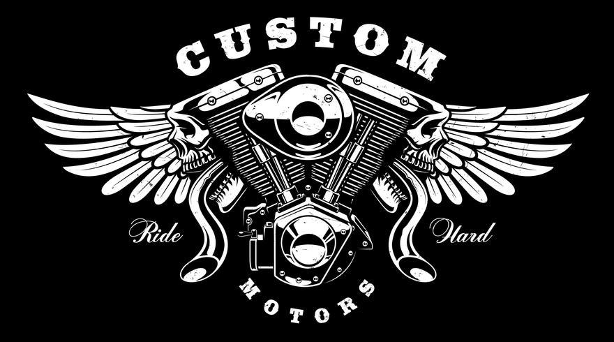 Monster motor med vingar t-shirt design (på mörk bakgrund) vektor