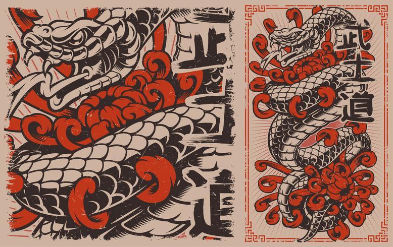 Japansk orm vektor