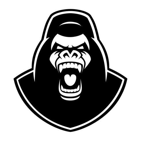 Schwarzweiss-Emblem eines Gorillas auf dem weißen Hintergrund. vektor