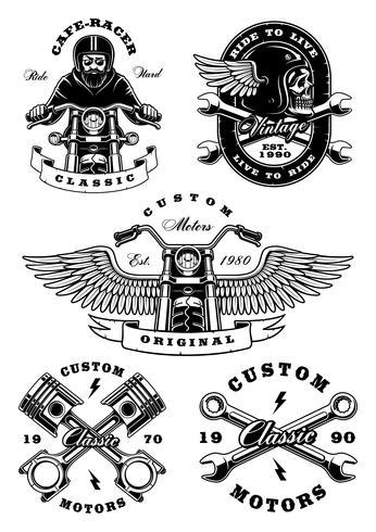 Set med 5 vintage biker illustrationer på vit background_2 vektor