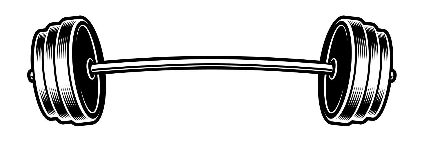 Svartvitt illustration av en skivstång vektor