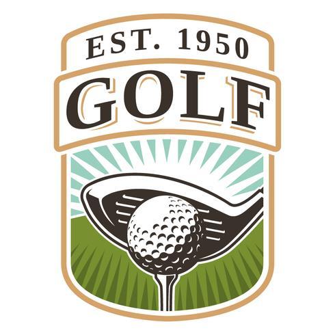 Emblem med golfklubb och boll vektor