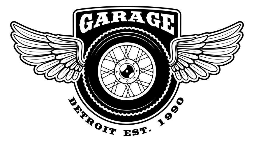 Badge av motorcykel med vingar vektor