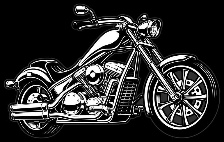 Vintage monokrom motorcykel på mörk bakcground vektor