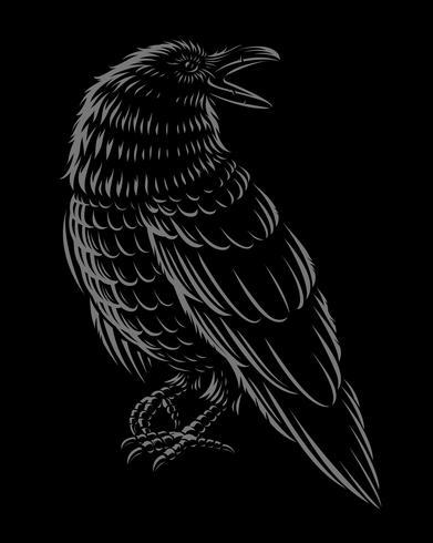 Svartvitt ilustration av raven. vektor