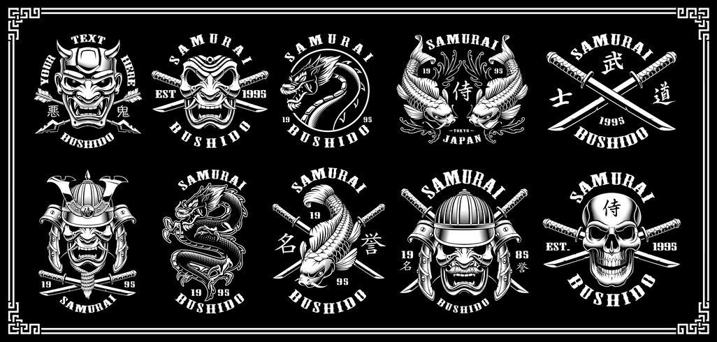 Set Samurai-Embleme (für dunklen Hintergrund) vektor