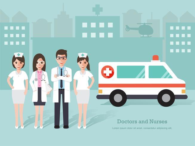 Grupp av läkare och sjuksköterskor, medicinsk personal. vektor