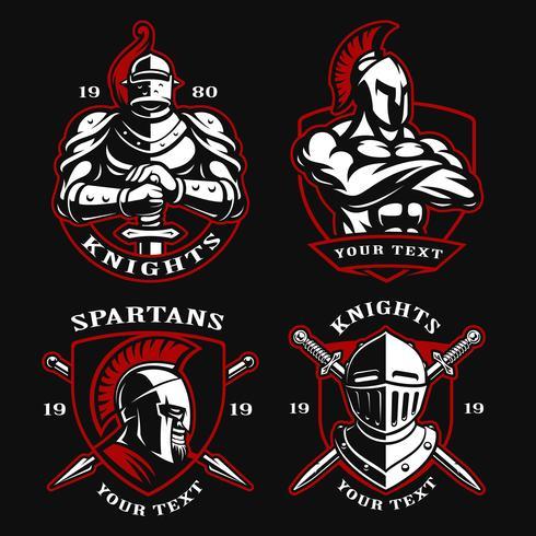 Reihe von alten Kriegern vektor